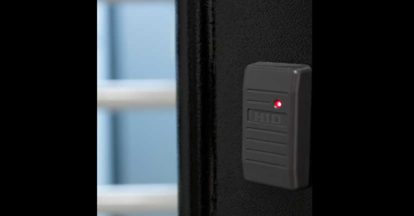 close up of security door entry system