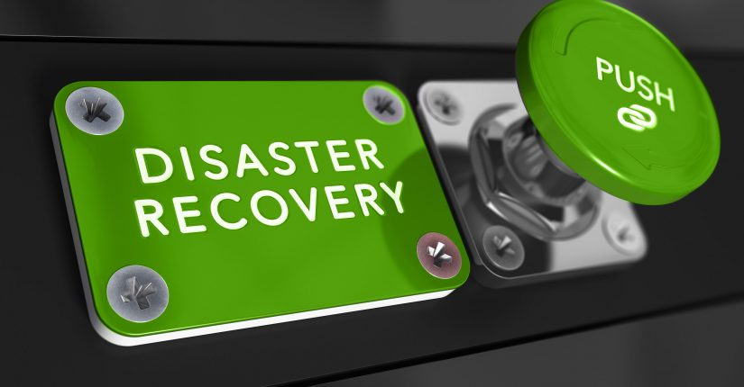 Green disaster recovery push button and sign