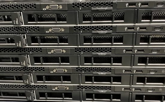 Fosshost's Arm64 hardware stacked in server rack
